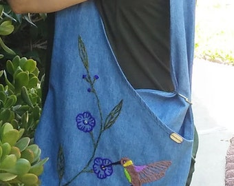 Upcycled Denim Tote Bag w Handmade Embroidered Hummingbird Reusable Bag Sustainable Fashion Bag Beach Bag. Errands Eco friendly Bag