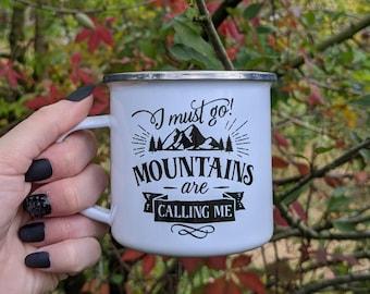 Custom Adventure Mug, Mountains are calling mug, Camping Mug Gift, Campfire Mug, Enamel Mug, Camping Mug Custom, Camping Coffee Mug