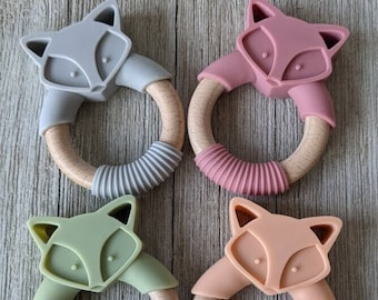 Personalized baby teether, engraved teether, Food grade silicone fox teether, silicone baby teether, wooden baby teether, baby silicone toy