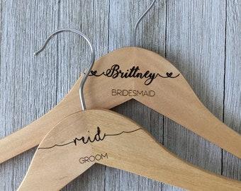 Personalized Hangers, Engraved Wedding Hanger, Wooden Bridesmaids Engraved Hanger, Bridal Dress Hanger, Wedding Name Hangers Personalized