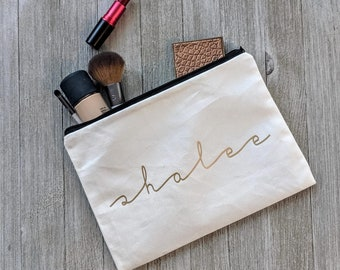 Personalized make up bag: Bridesmaid Custom Monogram Wedding Makeup Case Cosmetic Women Gift Ideas Birthday Gifts, pretty