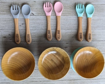 Personalized wooden baby bowl, Silicone Bowl With Spoon and fork, baby bowl, baby silicone bowl with matching fork and spoon