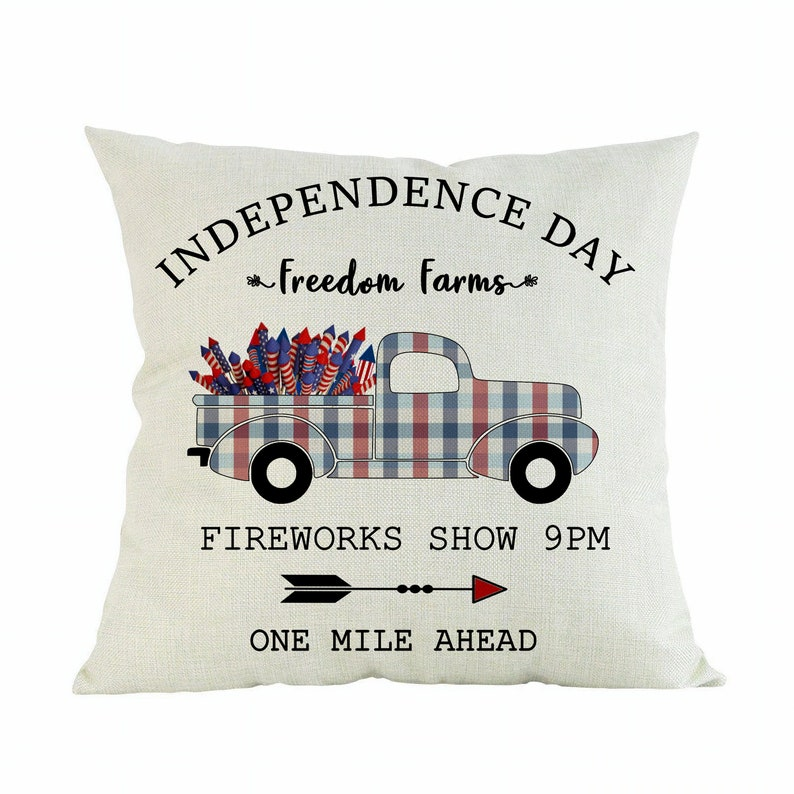 Patriotic Farmhouse Pillow  Vintage Red Cream and Blue Plaid image 0