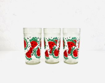 Vintage Jelly Jar Drinking Glass Tumbler ~ 16 oz ~ Watermelon Theme ~ Replacement Glassware