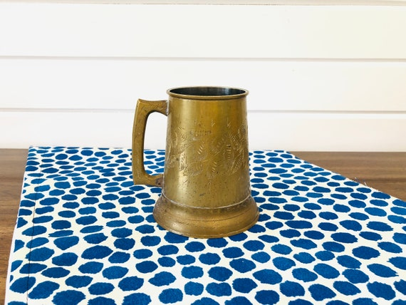Vintage Brass With Clear Glass Base And Etched Leaves Beer Stein/Mug/Made  In India