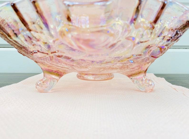 vintage Rose Iridescent Glass Bowl Avec Rose Design