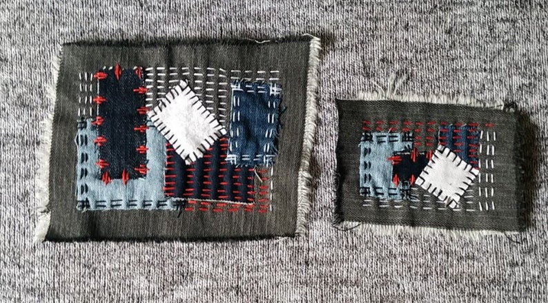 Visible mending clothes Geometric ornament Textile art patches Japanese embroidery slow stitched Set of 2 embroidered denim sew on patch