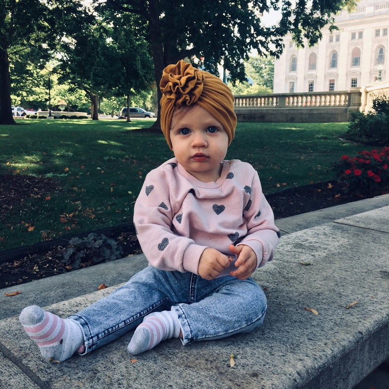 baby headwrap minikane coming home outfit matching set mommy and me Mustard top knot turban turban newborn hat