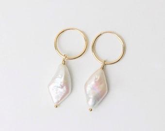 Minimalistic Diamond Pearl Earring | Hoop Earrings | Pearl Earring | Freshwater Pearl Charm | Gold filled & Sterling Silver | Gift for her