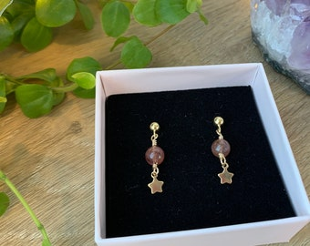 Minimalistic Gemstone Moon and Star Earring | Gold Filled or Sterling Silver Earstud | Moonstone or Strawberry Quartz