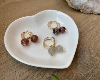 Minimalistic Gemstone Hoop Earring | Gold Filled | Moonstone, Aquamarine, Amazonite, Opal, Quartz, Amethyst, Garnet & more!