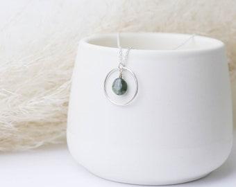 Gemstone inside a Circle | Sterling Silver | Peach Moonstone, Amazonite, Rose Quartz, Aventurine, Rutilated Quartz