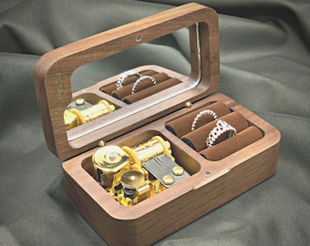 Personalized Wooden Wedding Ring Music Box for 2 RINGS   Custom Wedding Ring Box   Wedding Ring Box with Melody
