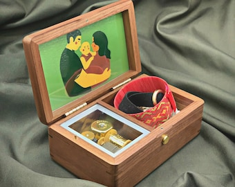 Personalized Wooden Jewelry Box with Melody / Custom Music Box with Storage for Jewelry / Jewelry Box with Your Photo and Melody