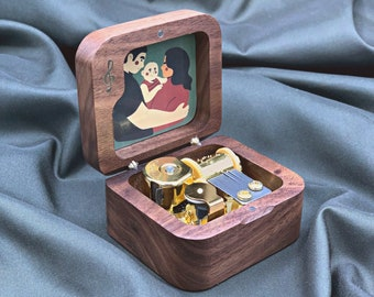 Personalized Wooden Music Box with Your Picture / Music Box with Stopper / Japanese Movement Mechanism
