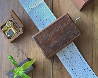 Do it Yourself Custom Melody Music Box with Paper Strips and Puncher / Dark Walnut DIY 30-note Music Box / Create your Own Melody