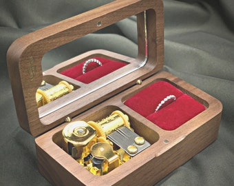 Single Ring Personalized Wooden Wedding Ring Music Box   Custom Wedding Ring Box   Wedding Ring Box with Melody