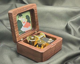 Wooden Music Box with Your Picture & Engraving / Personalized Music Box / Custom Wind-Up Music Box / Japanese Movement Mechanism