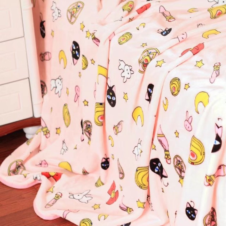 FREE USA Delivery Usagi Sailor Moon Inspired Plush Blanket or image 0