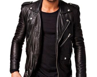 5ba09898a Mens leather jacket   Etsy