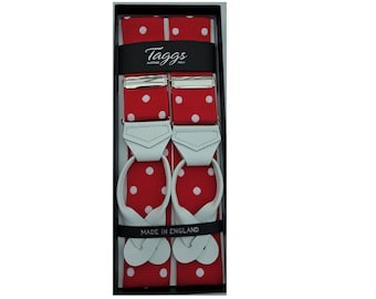 40mm Rigid Barathea RedWhite Polka Dot  with White Leather ends Made In England Limited Edition Exclusive to Taggs
