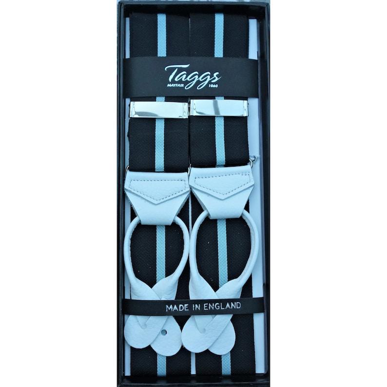 Men's Vintage Style Suspenders Braces Taggs Premium Luxury Rigid Barathea Black/Sky (Eton) Stripe Y back braces with real Goat leather ends ( Made In England) $71.00 AT vintagedancer.com