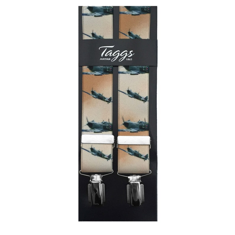 Men's Vintage Style Suspenders Braces Taggs Exclusive Spitfire 35mm Digital Print Elasticated Mens Braces with 4 x rhodium plated clips and