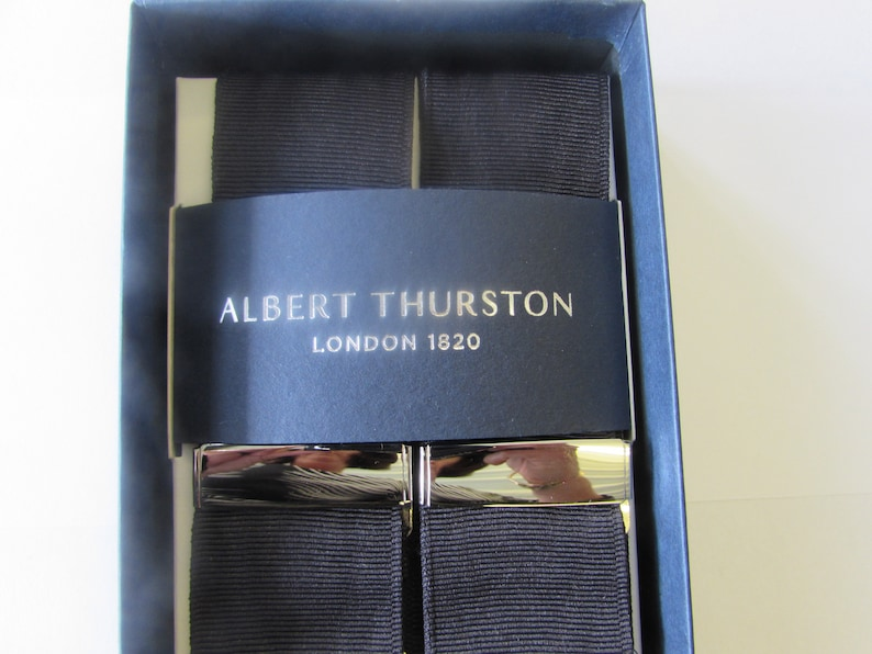 multifit Albert Thurston Black Moire Braces Black Braid ends and Tabs Silver fittings
