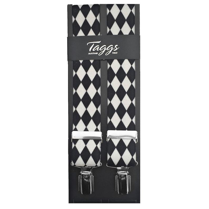 Men's Vintage Style Suspenders Braces Taggs Exclusive Black/White Harlequin 35mm Digital Print Elasticated Mens Braces (Made In England) $26.97 AT vintagedancer.com