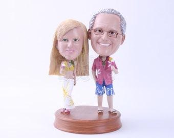 Custom Bobbleheads: Happy Couple on Summer Beach   Couple Custom Bobblehead   Bobbleheads as Unique Gifts for Birthday, Wedding, Anniversary