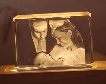 3D Crystal Gift: Large Landscape Or Portrait With Light Base   Crystal as Unique Gifts for Birthday, Wedding, Anniversary