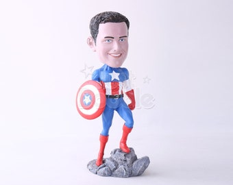 Custom Bobbleheads: Super Hero Holding Shield   Bobbleheads as Unique Gifts for Birthday, Wedding, Anniversary