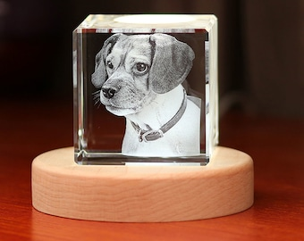 3D Crystal Gift: Cube With Light Base   Crystal as Unique Gifts for Birthday, Wedding, Anniversary