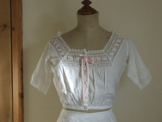 Antique cotton and lace camisole