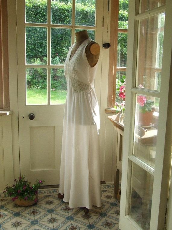 1930's floor length slip dress, soft pink rayon si