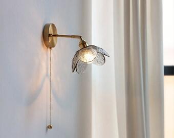 Glass Wall Light Lamp Sconce Fixture Light Light Vintage Light Plug In Wall Sconce Rustic Edison Wall Lamp Bedside Flower Light Brass Gold