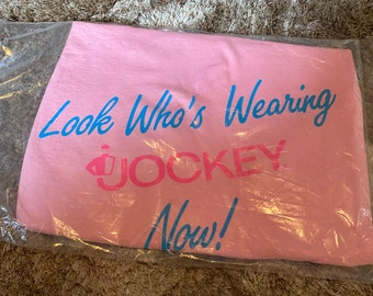 80s/90s Look who's wearing Jockey Tshirt Single Stitched Pink Adult Size All Size (Large)