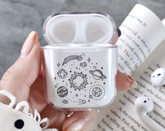 ed4769bfa3c Clear AirPods case Space Planets AirPods cover holder sun moon Apple AirPods  clear Case AirPods pouch Nasa Apple headphones case Air pods