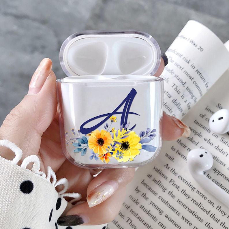 new concept c1fc6 ec84f Custom AirPod Case sumflower named initials AirPods Case Personalized  AirPods Case Cover Momogrammed AirPods holder Apple AirPod pouch cover