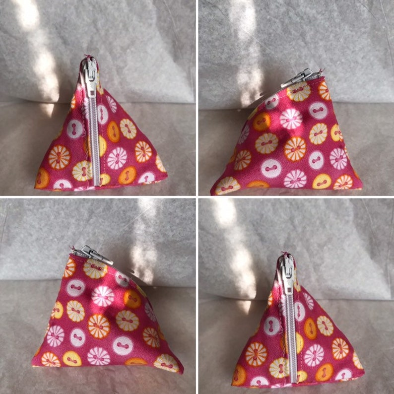 Earbud Pouch Button Triangle Zipper Pouch Coin Purse Notion Pouch