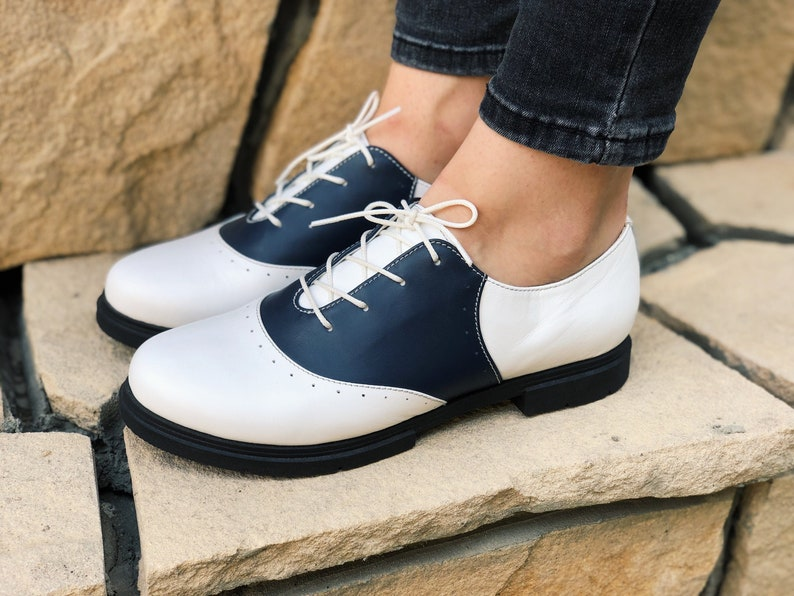 1960s Style Clothing & 60s Fashion Leather shoes Womens White Oxford Flats Saddle shoes Comfortable Wear Lace up Oxford Hand Made Sole Custom Wide Oxford $126.00 AT vintagedancer.com