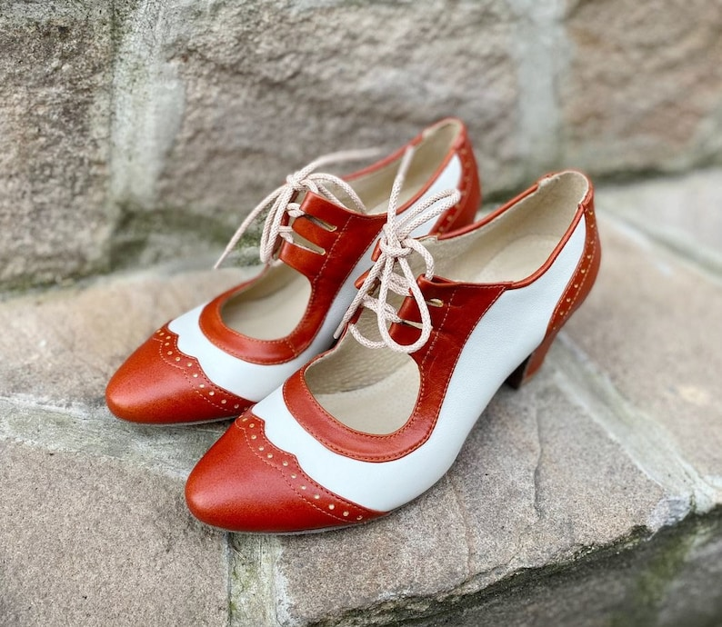 1930s Shoes – Art Deco Shoes, Heels, Boots, Sandals Mary Jane Booties Pointed Toe White Leather Vintage Mary Jane Pumps Chunky Heels Ginger Leather $145.00 AT vintagedancer.com