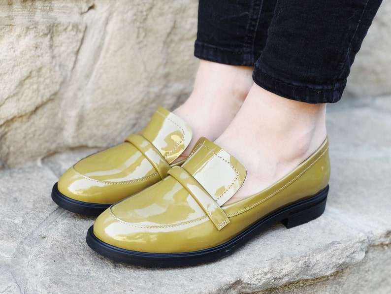 70s Clothes | Hippie Clothes & Outfits Loafer Flats For Woman Olive Patent Leather Loafer Shoes Leather Front Strap Handmade Leather Flats For Woman Custom Designer Shoes Woman $145.00 AT vintagedancer.com