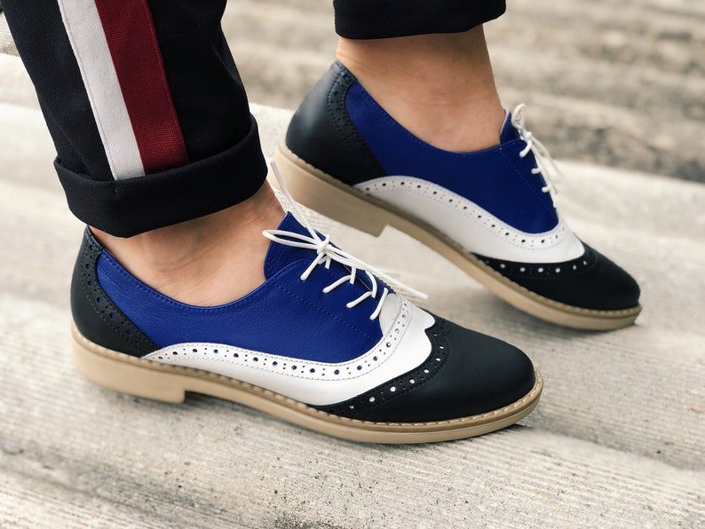 Retro Vintage Flats and Low Heel Shoes Oxford Shoes Woman Three Tone Leather Handmade Oxford Flats Custom Large Size Woman Hipster Lace Up Oxfords White Navy Blue Black Leather $117.00 AT vintagedancer.com