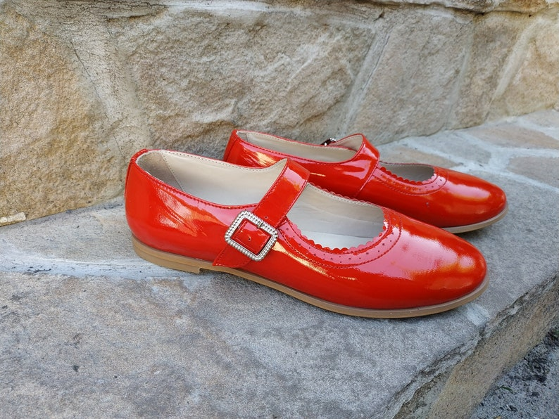 70s Shoes, Platforms, Boots, Heels | 1970s Shoes Ankle Strap Mary Jane Flats For Woman Mary Jane Retro Style Red Patent Leather Custom Handmade Leather Shoes Large Size Free Shipping $121.50 AT vintagedancer.com