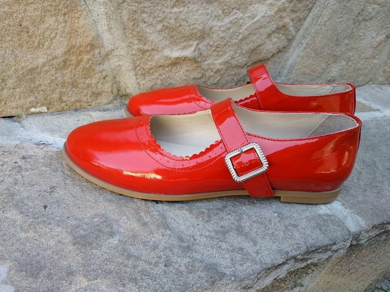 Retro Vintage Flats and Low Heel Shoes Mary Jane Flats Red Patent Woman Mary Jane Retro Style Ankle Strap Ballet Shoes Vintage Red Leather Shoes Custom Old Style Shoes Woman $140.00 AT vintagedancer.com