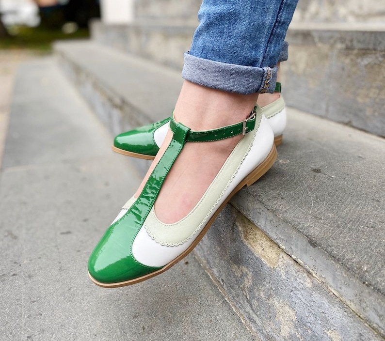60s Fancy Dress and Quality Clothing 1960s UK Vintage Mary Janes Flats For Woman T Strap Mary Janes Green Patent Leather Slingback Mary Janes Pumps Retro Style Custom Leather Shoes $121.50 AT vintagedancer.com