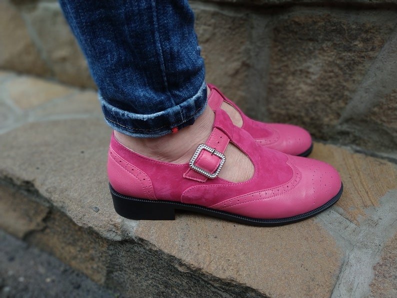 60s Shoes, Go Go Boots T Strap Mary Jane Shoes Low Heels Pink Leather For Woman Vintage Suede Mary Jane Round Toe Woman Custom Mary Jane Shoes Free Shipping $130.50 AT vintagedancer.com