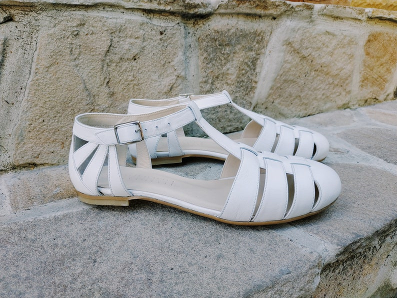 Retro Vintage Flats and Low Heel Shoes Vintage Mary Jane Flats For Woman White Leather Mary Jane Sandals Ankle Front Strap Flat Sole Open Leather Ballet Shoes Flats For Woman $135.00 AT vintagedancer.com