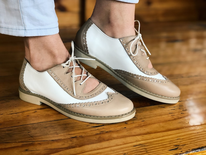 Retro Vintage Flats and Low Heel Shoes White Beige Casual Oxford Shoes Woman Leather Lace Up Oxfords for Woman Custom Wide Size Shoes Woman Free Color Choice Woman Shoes $121.50 AT vintagedancer.com